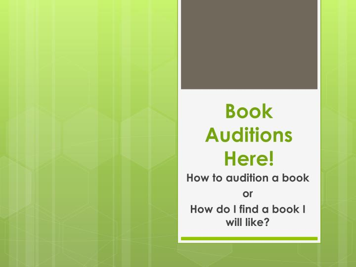 book auditions here n.