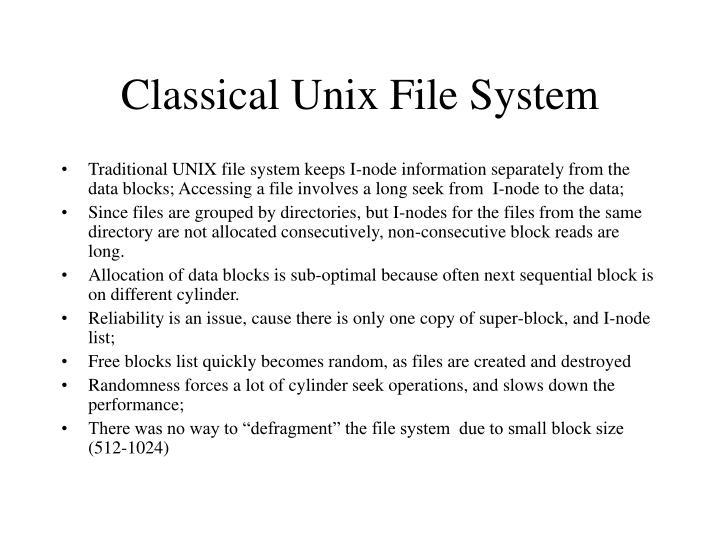 Classical unix file system