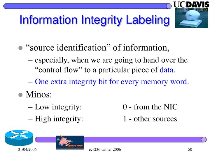 Information Integrity Labeling