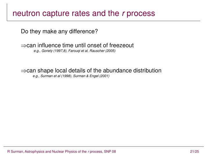 neutron capture rates and the
