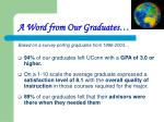 a word from our graduates