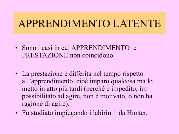 APPRENDIMENTO LATENTE