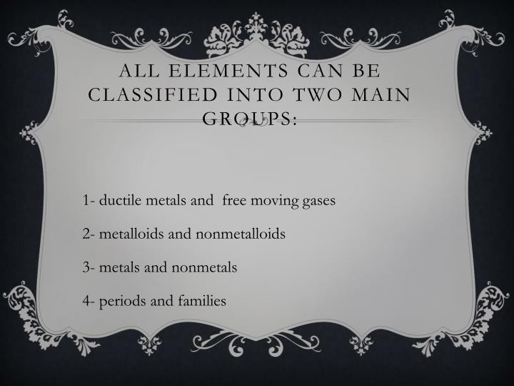 All elements can be classified into two main groups:
