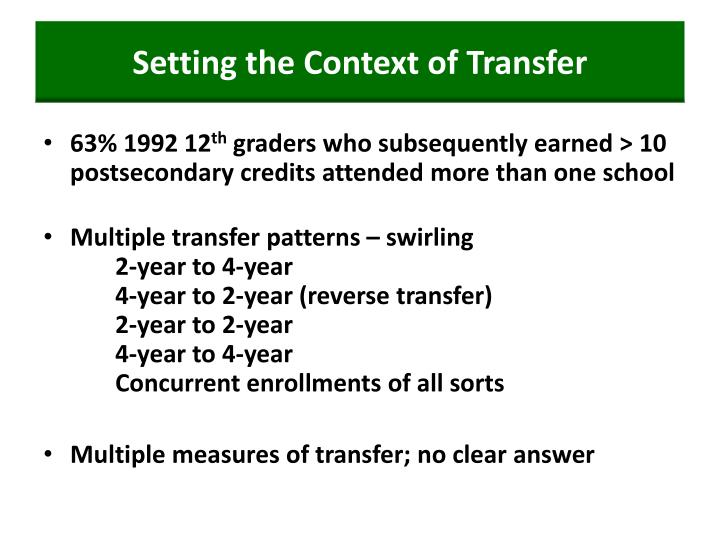 Setting the context of transfer