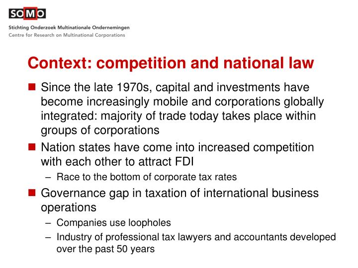 Context: competition and national law