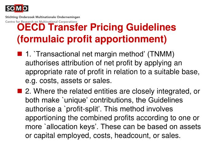 OECD Transfer Pricing Guidelines (formulaic profit apportionment)