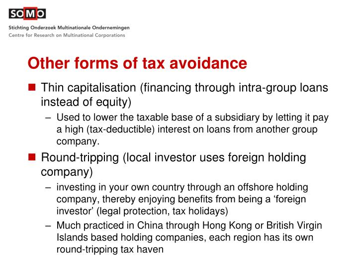 Other forms of tax avoidance
