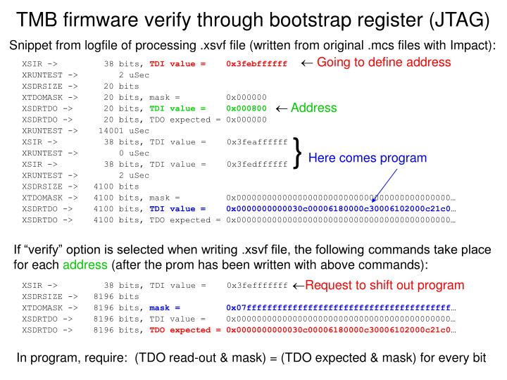 Tmb firmware verify through bootstrap register jtag