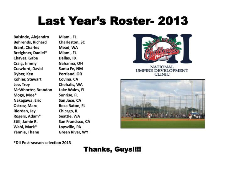 Last Year's Roster- 2013