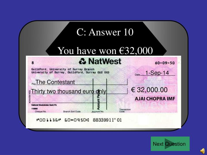 C: Answer 10