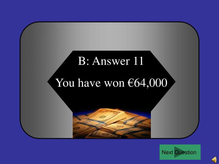 B: Answer 11