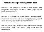 pencurian dan penyalahgunaan data