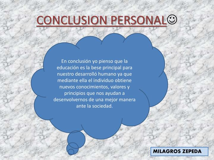 CONCLUSION PERSONAL