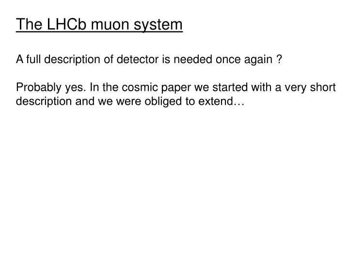The LHCb muon system