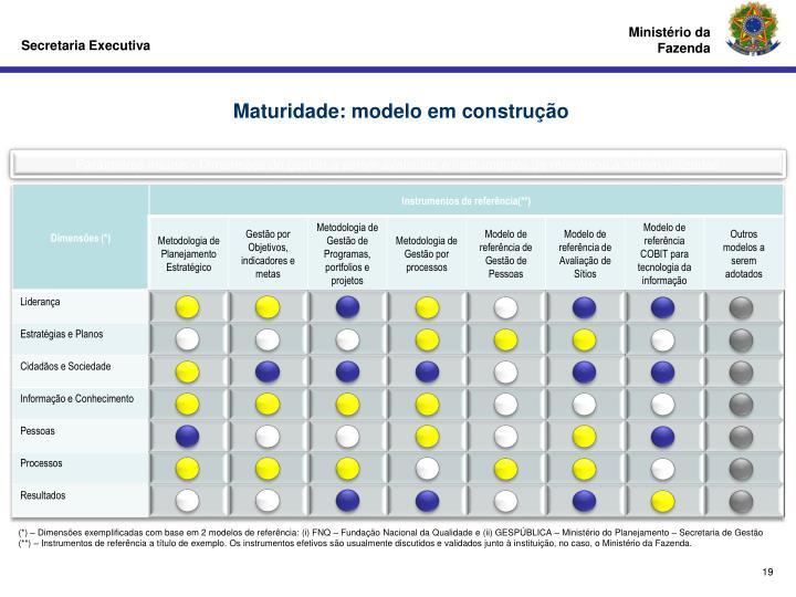 Maturidade: modelo em construção