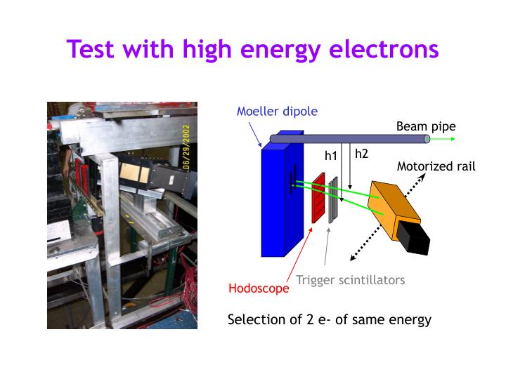 Test with high energy electrons