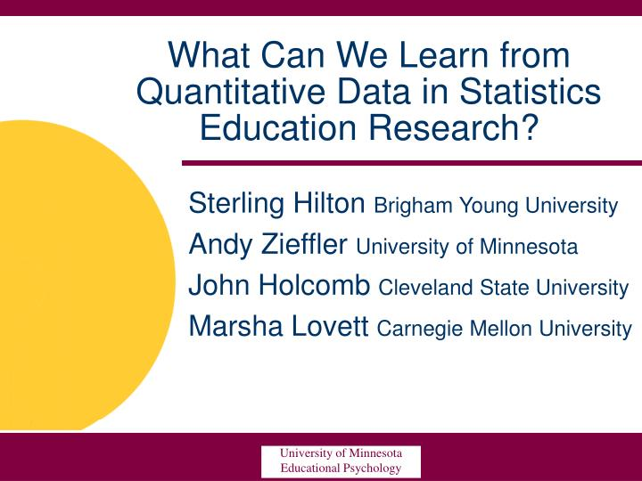PPT - What Can We Learn from Quantitative Data in Statistics