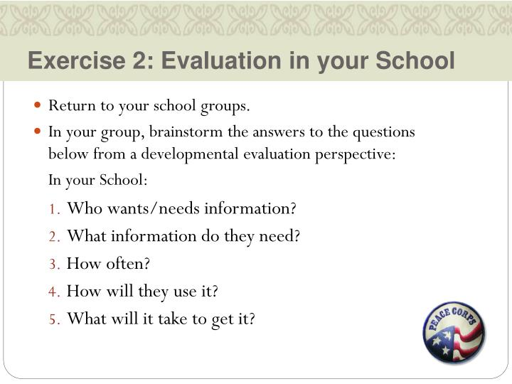 Exercise 2: Evaluation in your School