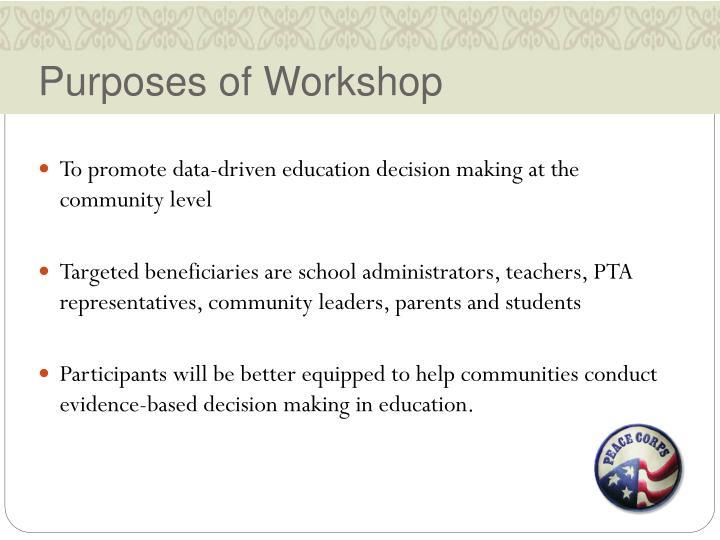 Purposes of workshop
