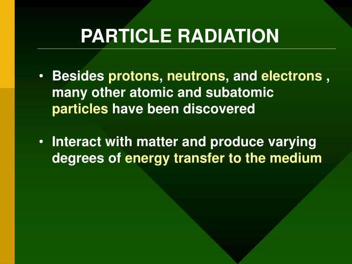 PARTICLE RADIATION