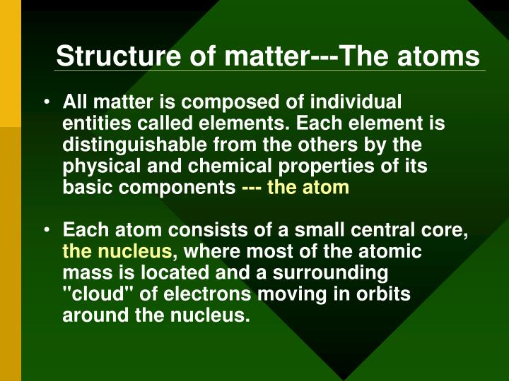 Structure of matter---The atoms