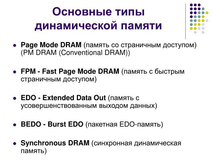 Основные типы динамической памяти