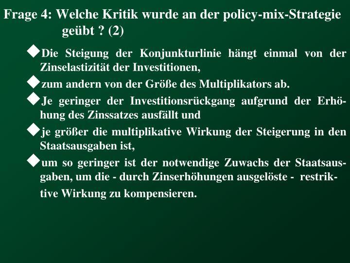 Frage 4: Welche Kritik wurde an der policy-mix-Strategie geübt ? (2)