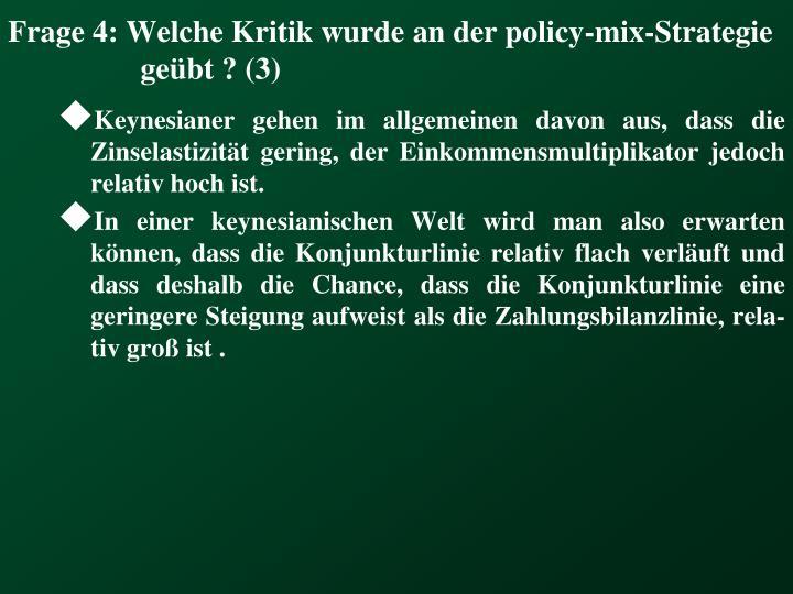 Frage 4: Welche Kritik wurde an der policy-mix-Strategie geübt ? (3)