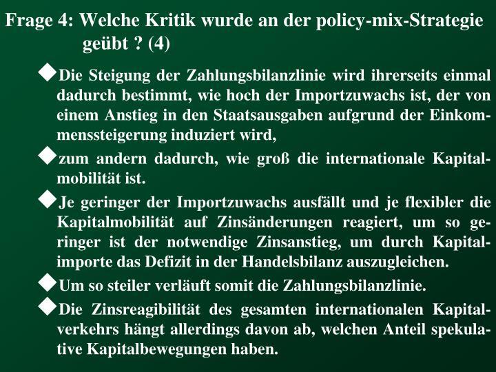 Frage 4: Welche Kritik wurde an der policy-mix-Strategie geübt ? (4)