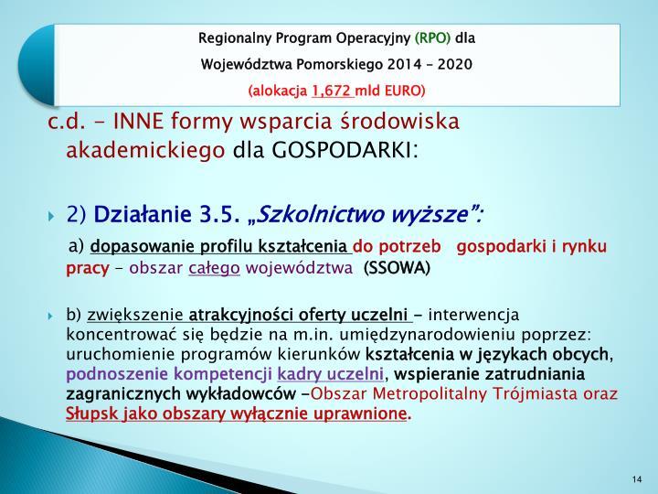 c.d. - INNE formy wsparcia środowiska akademickiego