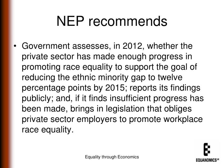 NEP recommends