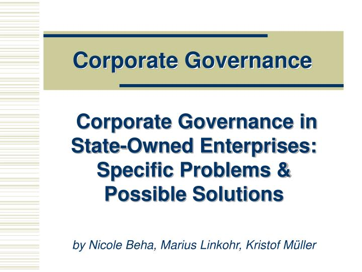 corporate governance problem solution