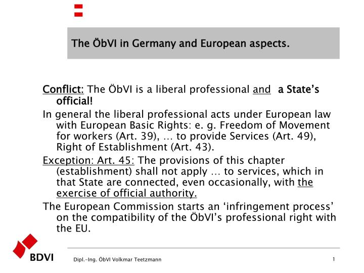 The bvi in germany and european aspects