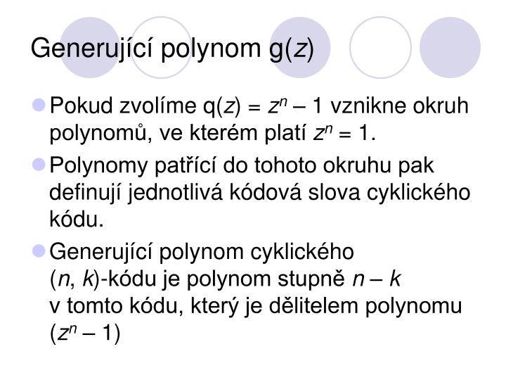 Generující polynom g(