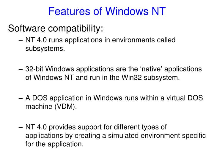 Features of windows nt1