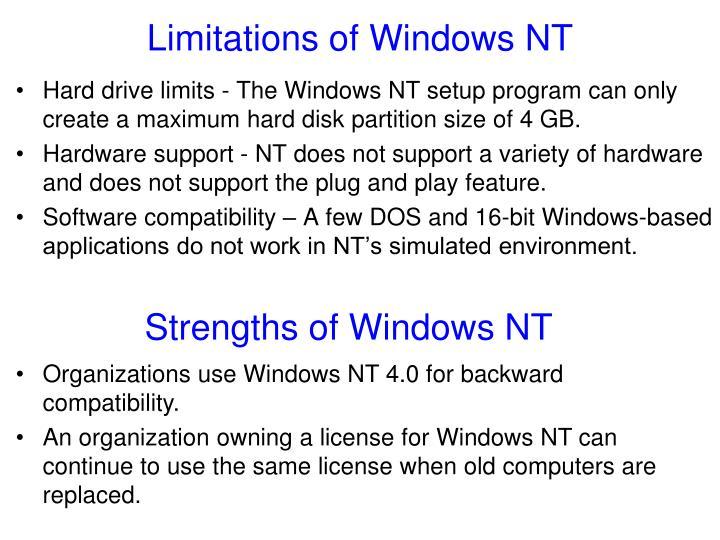 Limitations of Windows NT
