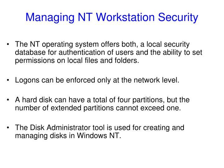 Managing NT Workstation Security