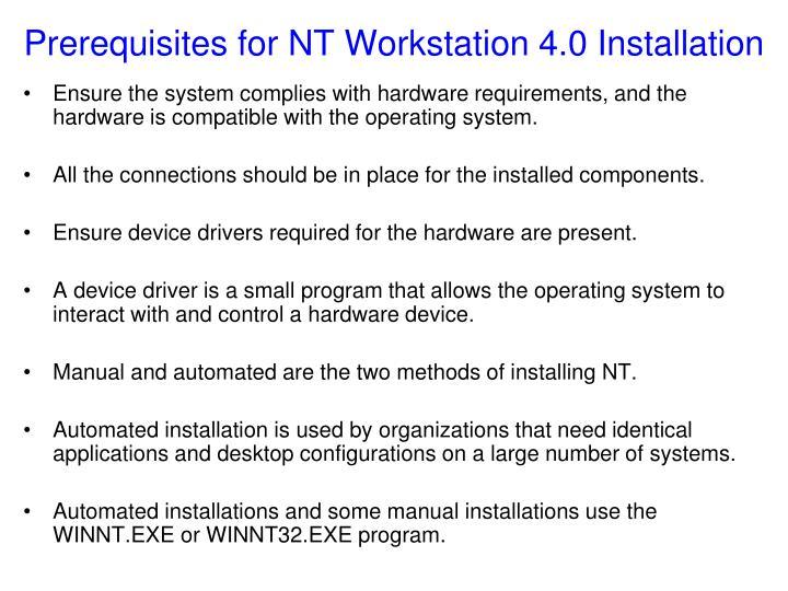 Prerequisites for NT Workstation 4.0 Installation