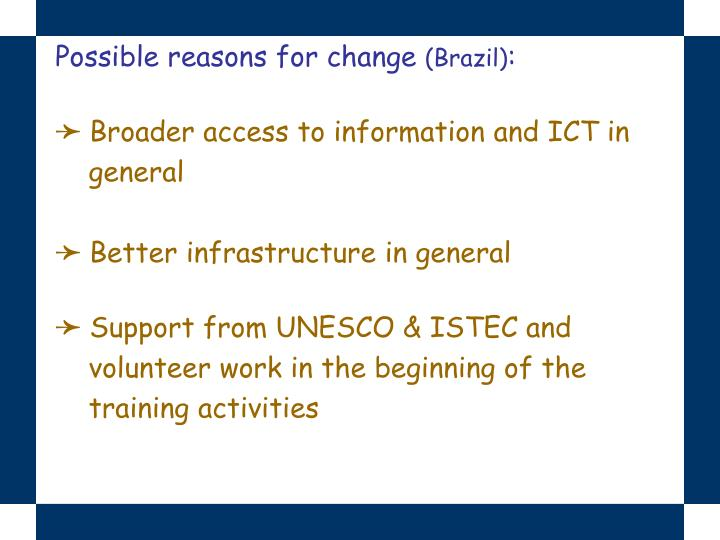 Possible reasons for change