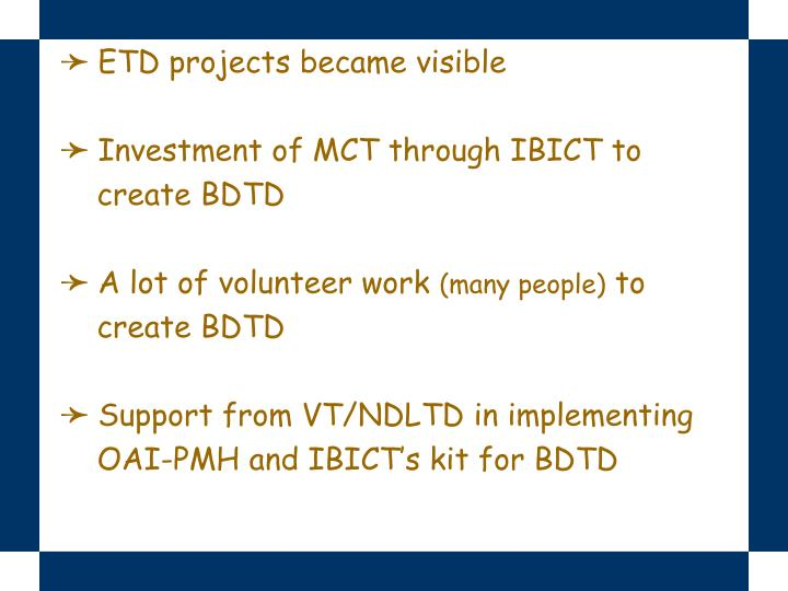 ETD projects became visible