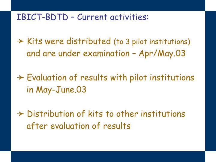 IBICT-BDTD – Current activities:
