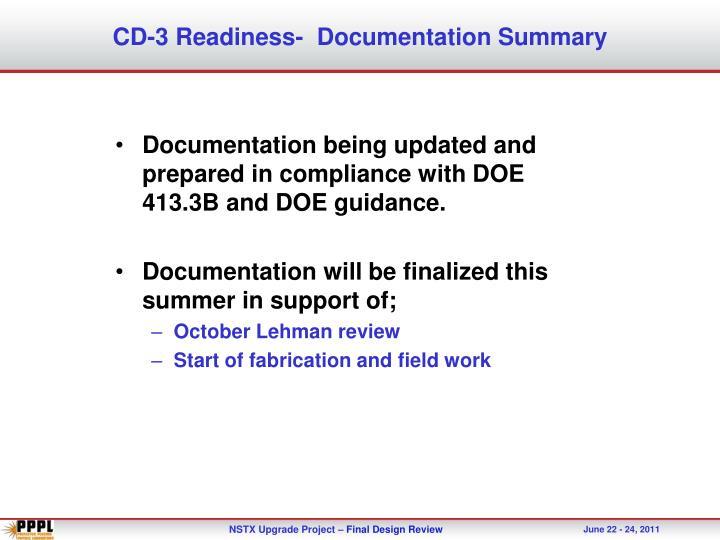 CD-3 Readiness-  Documentation Summary