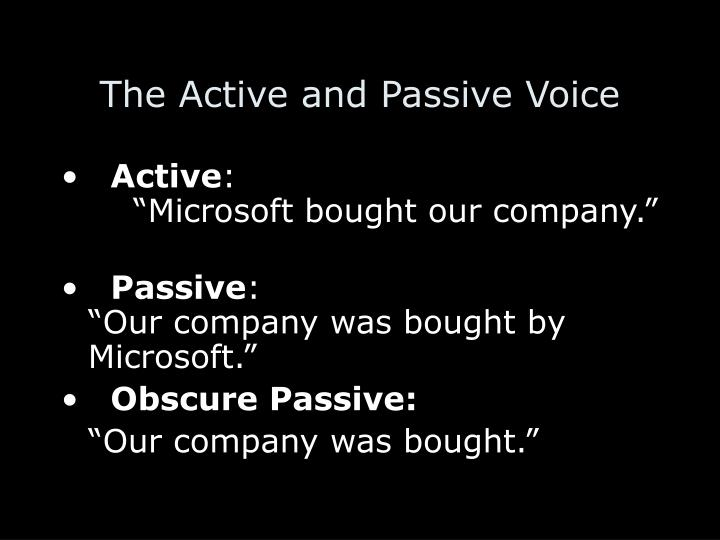 The Active and Passive Voice