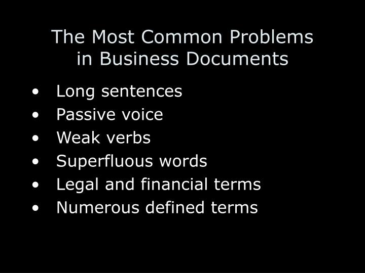 The most common problems in business documents