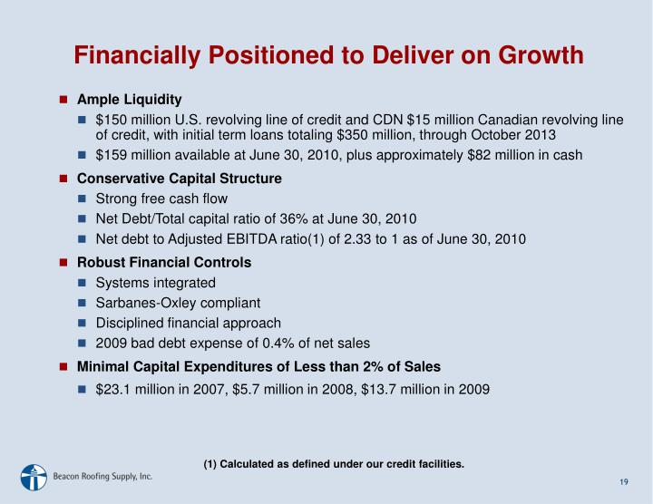 Financially Positioned to Deliver on Growth
