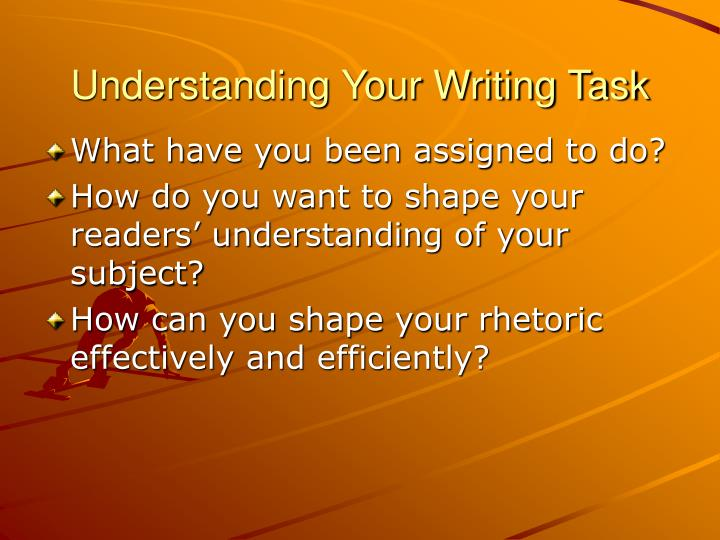 Understanding your writing task
