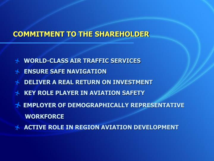 COMMITMENT TO THE SHAREHOLDER