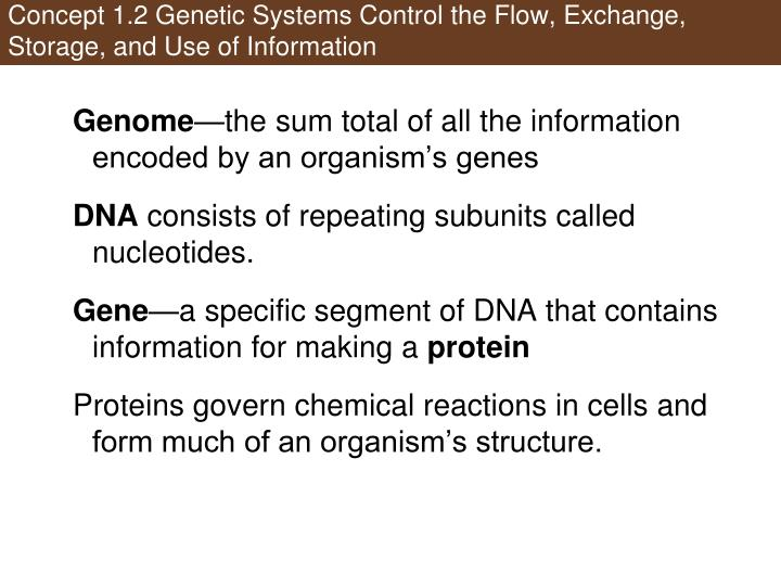 Concept 1.2 Genetic Systems Control the Flow, Exchange,