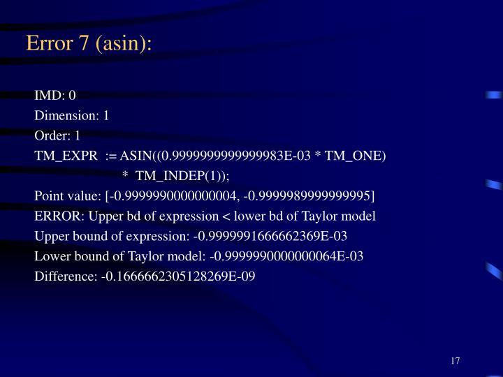 Error 7 (asin):