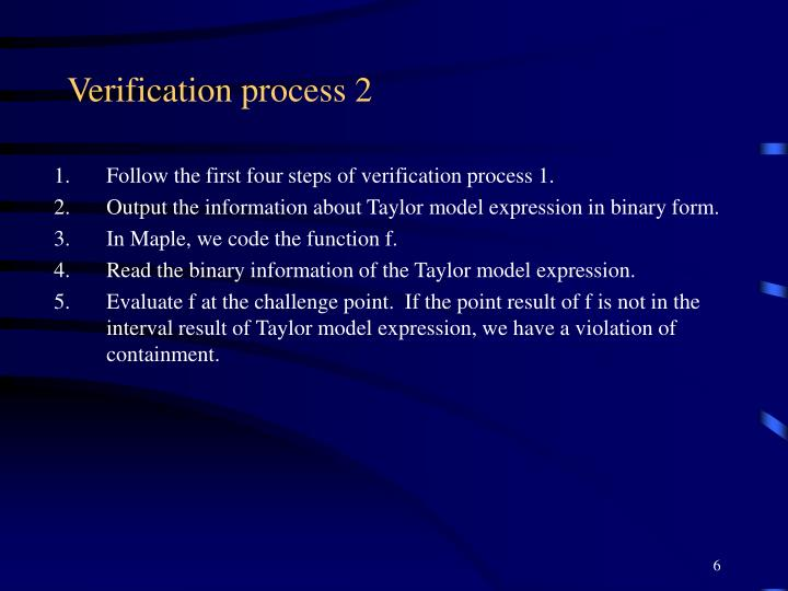 Verification process 2